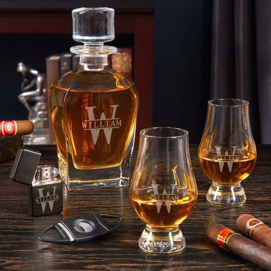 Engraved Decanter with Glencairn Glasses and Cigar Accessories