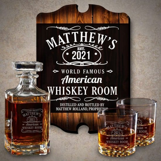 Custom Whiskey Sign with Whiskey Decanter Gift Set