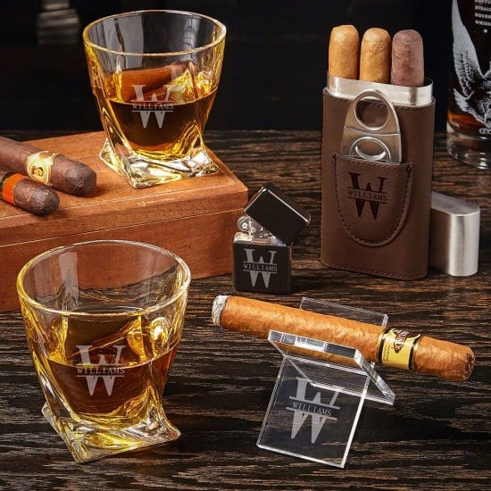 Cool Guy Gifts are Engraved Twist Whiskey Glasses and Cigar Case