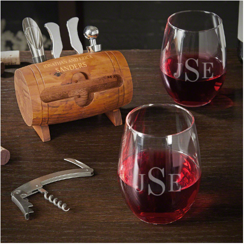 Monogrammed Wine Glass and Tool Set of Parent Gifts
