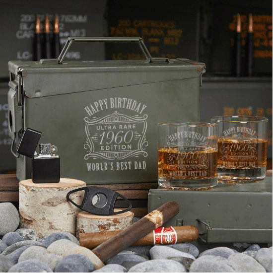 Engraved Whiskey Ammo Can set 60th Birthday Gifts for Dads