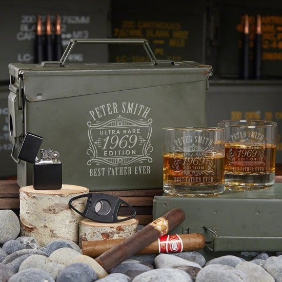 Engraved Whiskey Glasses and Cigar Ammo Can Set
