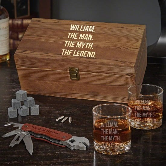 Personalized Whiskey Box Set with Multi Tool