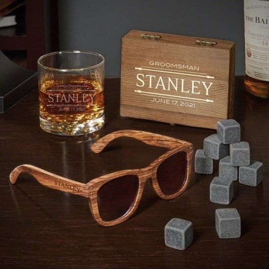Engraved Whiskey Stone and Sunglass Gift Set