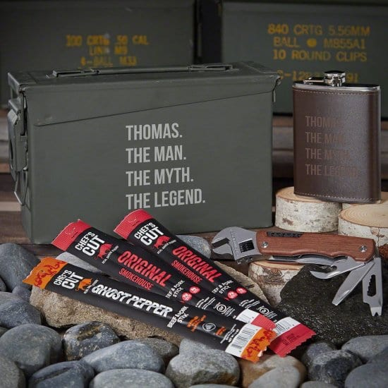 Engraved Ammo Can with Flask Multi Tool and Jerky