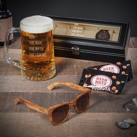 Best Guy Gifts are Watch Case with Beer Mug and Wooden Sunglasses