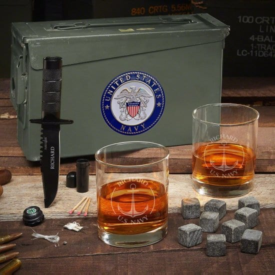 Whiskey Glasses Ammo Can Navy Gift Set