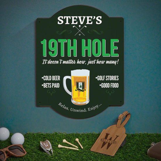 Golf Sign with Bag Tag and Divot Tool
