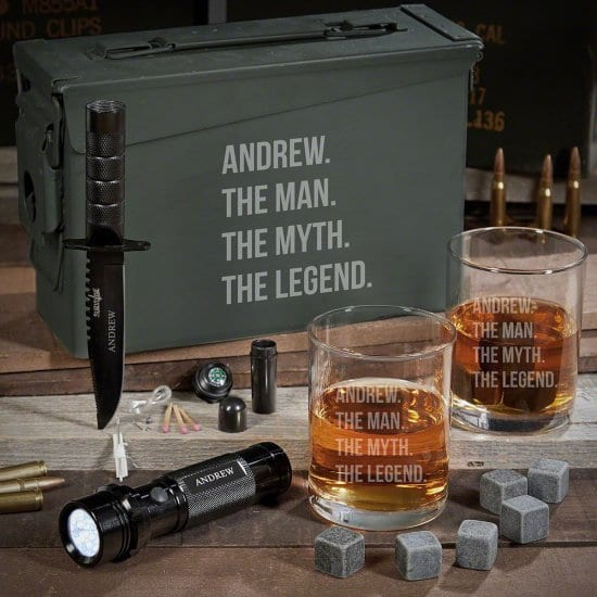 What to Get My Dad for His Birthday Whiskey Ammo Can with Flashlight
