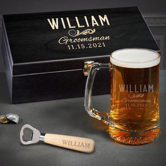 Custom Beer Mug and Bottle Opener Box Set