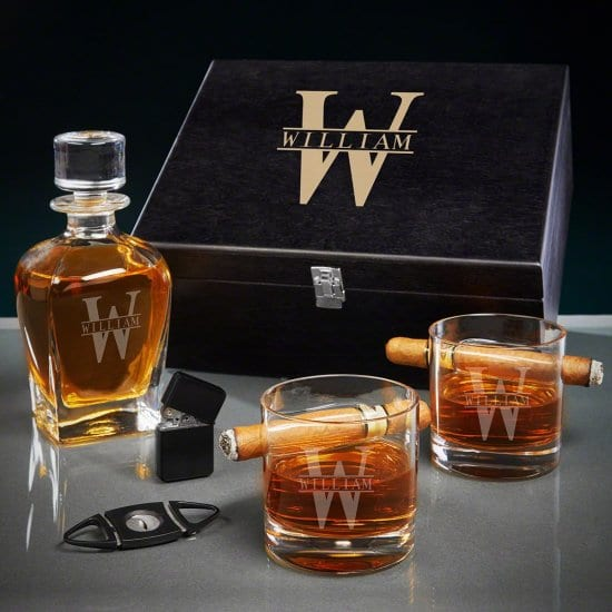 Personalized Whiskey Decanter and Cigar Gift Basket