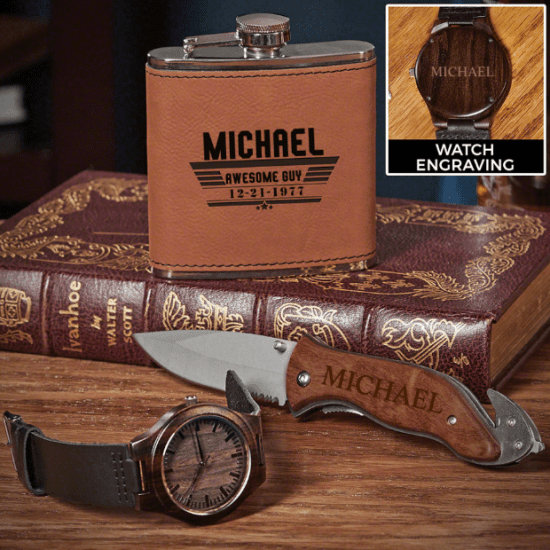 Custom Leather-Wrapped Flask Knife and Wooden Watch