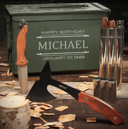 Custom Ammo Can with Cigar Flask Knife and Hatchet