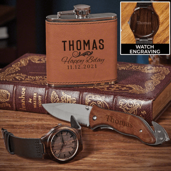 Embossed Flask Knife and Watch for His Birthday