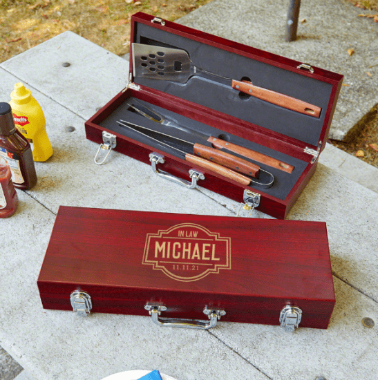 Personalized Grill Tool Set Gift for Father in Law