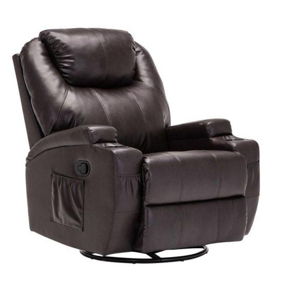 Massage Swivel Leather Recliner