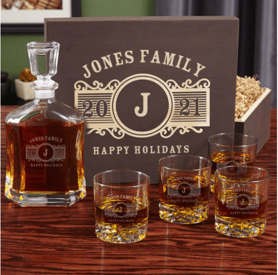 Personalized Whiskey Decanter Christmas Gift Sets