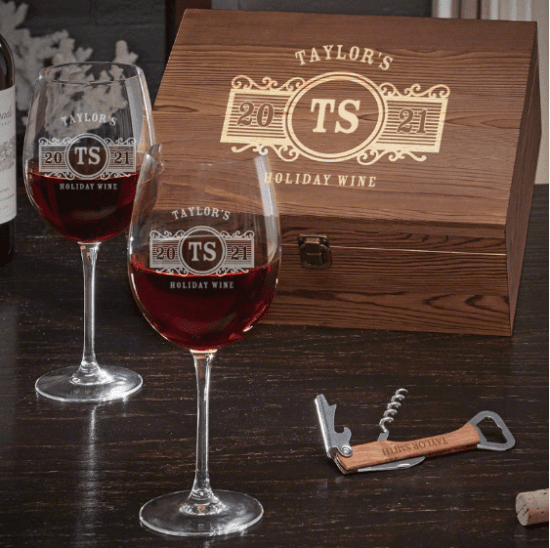 Engraved Wine Christmas Gift Sets