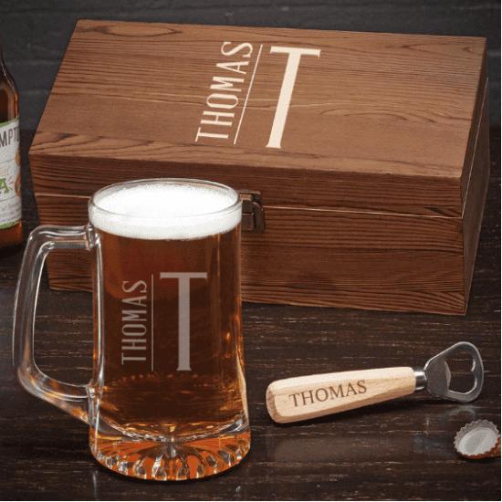 Personalized Beer Mug Gift Set with Bottle Opener