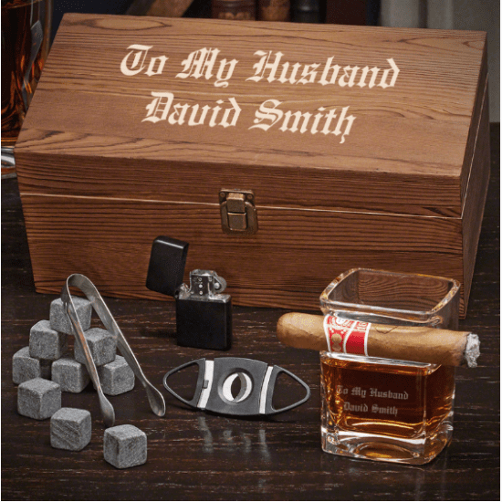 Customizable Whiskey and Cigar Set of Gifts for Groom From Bride