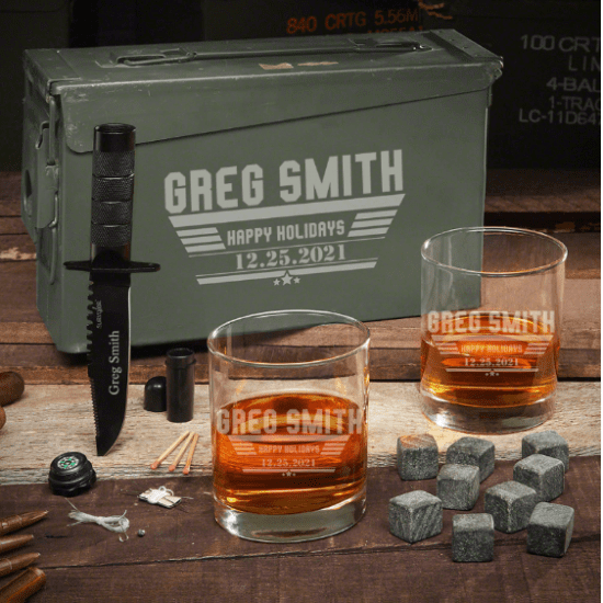 Custom Whiskey Ammo Can Set with Knife