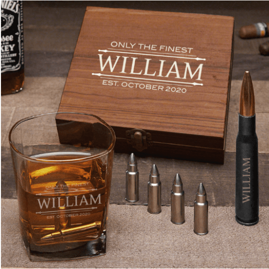 Personalized Bullet Whiskey Stone Set of Drinking Accessories
