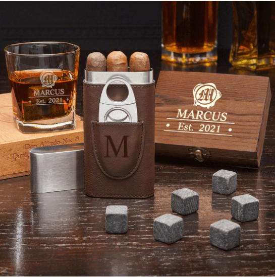 Engraved Whiskey and Cigar Gifts for Groom From Bride