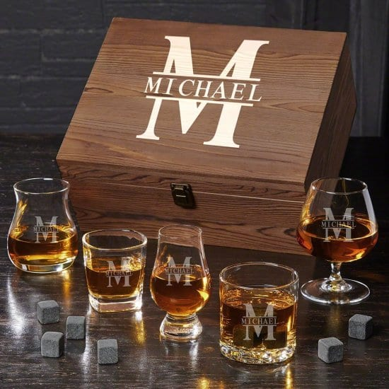 Ultimate Wooden Birthday Gift Box with Whiskey Glasses and Stones