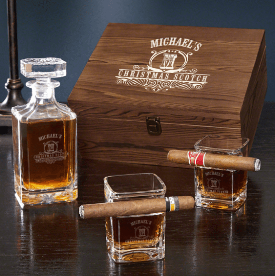 Crystal Whiskey Decanter and Cigar Glass Set
