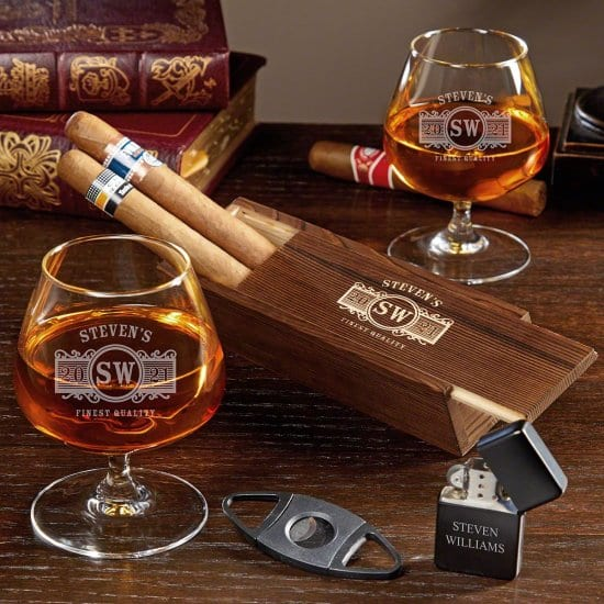 Engraved Cognac Glasses and Cigar Set of Gifts Ideas for Mom and Dad