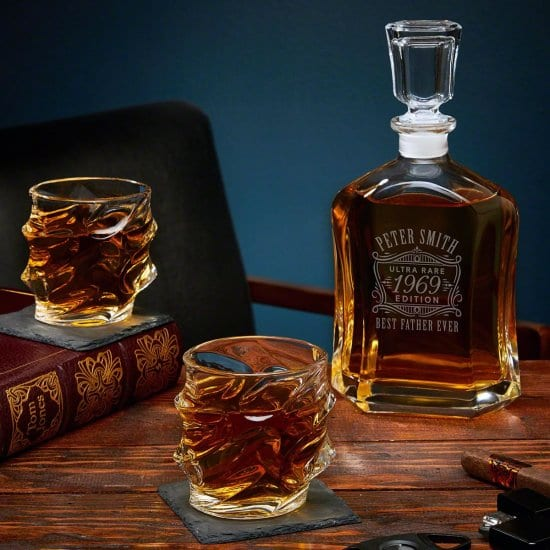 Unique Sculpted Glasses with Engraved Decanter