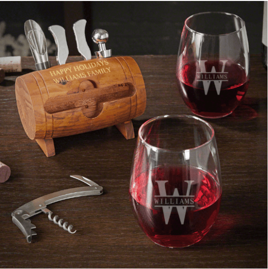 Engraved Wine Tool and Glass Set