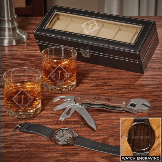 Watch and Whiskey Gift Set with Multi Tool