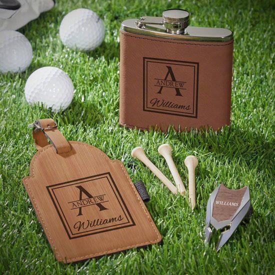 Embossed Flask Bag Tag and Divot Tool