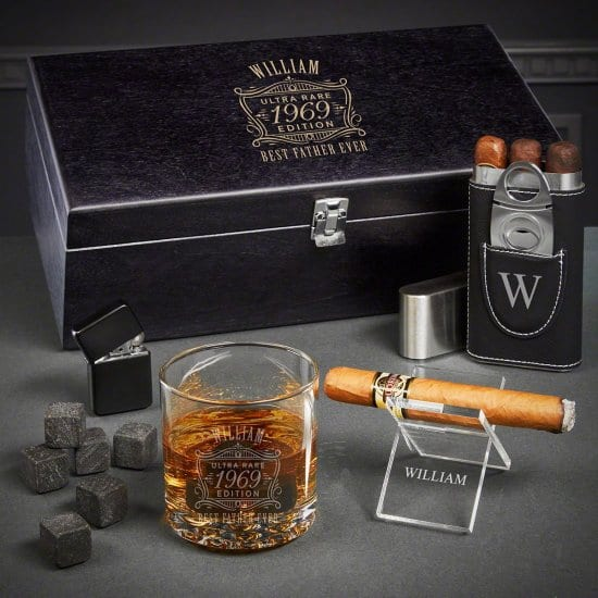Custom Box Set of Cigar and Whiskey Gifts