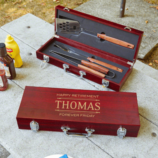 Personalized Grill Tools are Funny Retirement Gifts