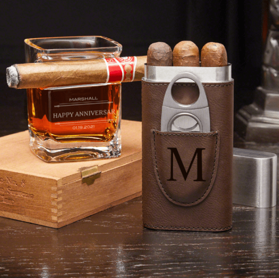 Personalized Cigar Whiskey Glass and Cigar Case