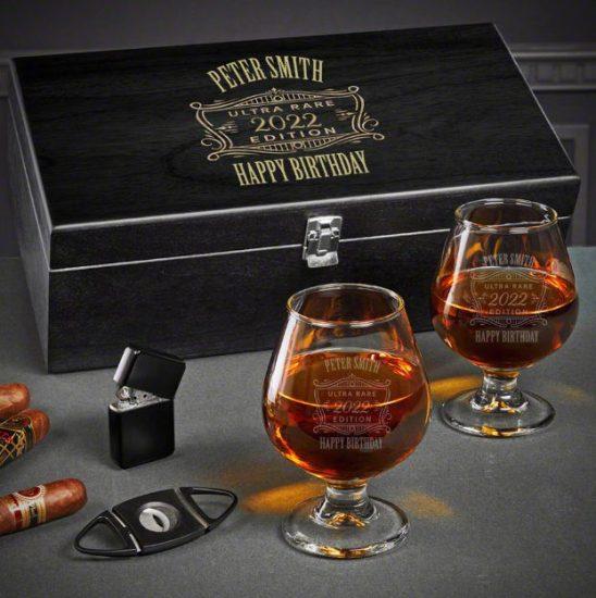 Personalized Cognac Birthday Gift Box