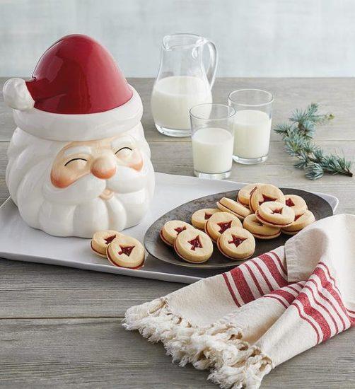 Santa Cookie Jar with Christmas Cookies