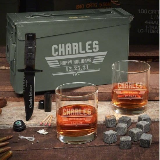 Manly Custom Whiskey Ammo Can Set
