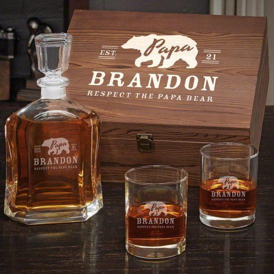 Personalized Whiskey Glassware Wooden Box Set