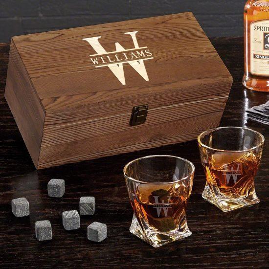 Personalized Twist Whiskey Glass Box Set