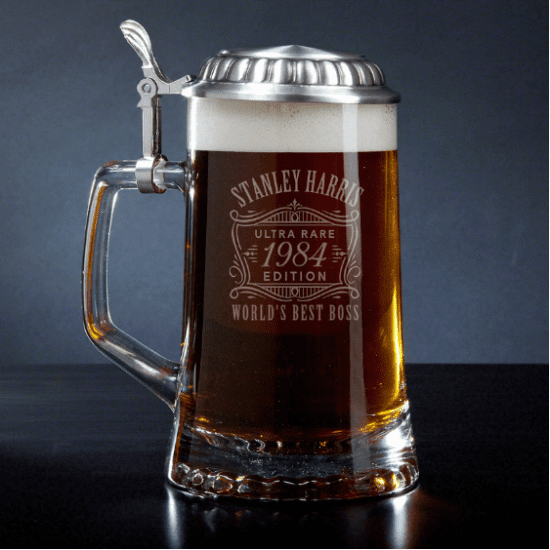 Engraved Glass Beer Stein with Lid