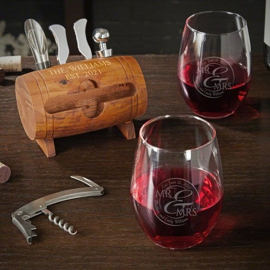 10 Year Anniversary Gifts are Engraved Wine Set with Stemless Glass