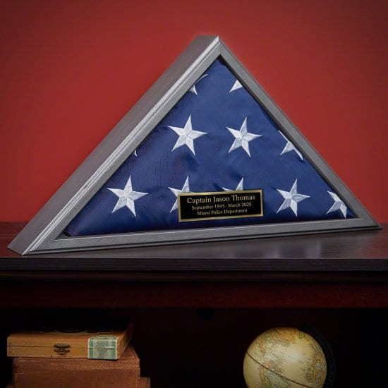 Flag Case with Engravable Plaque