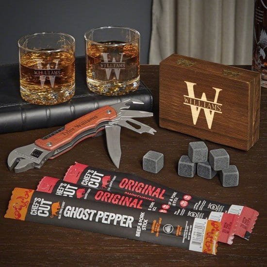 Custom Whiskey Gift Set with Multi Tool and Beef Jerky