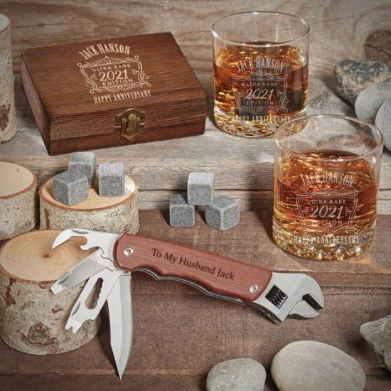 Personalized Whiskey and Multi Tool First Wedding Anniversary Gift for Husband