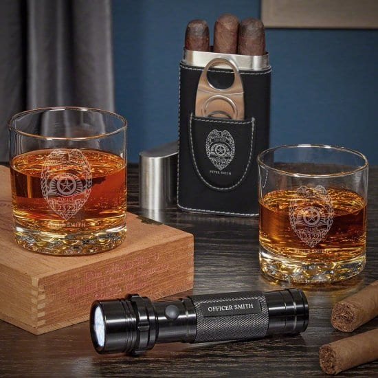 Cigar and Whiskey Personalized Gifts for Police Officers