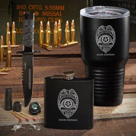 Custom Coffee Tumbler Flask and Survival Knife