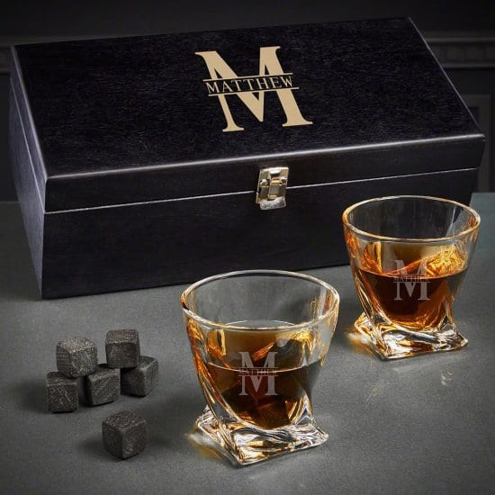 Engraved Whiskey Glass and Stone Box Set